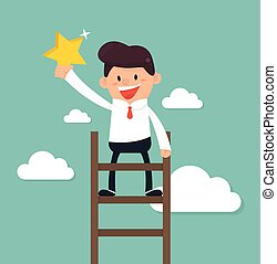 Businessman on a ladder grab star in the sky