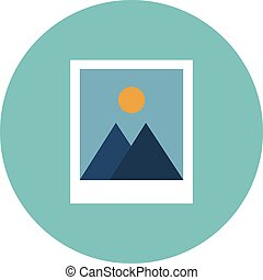 Vector icon of two instant photo frames in flat style