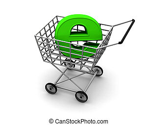 Consumer\'s basket and symbol of the Internet. 3d