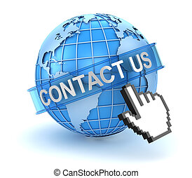 Contact us concept with world and hand cursor