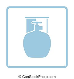 Camping gas container icon Blue frame design Vector...