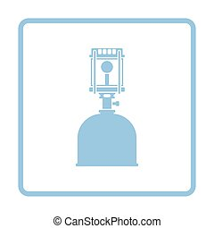 Camping gas burner lamp icon. Blue frame design. Vector...