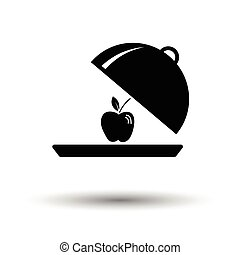 Apple inside cloche icon. White background with shadow...