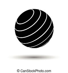 Fitness rubber ball icon. White background with shadow...