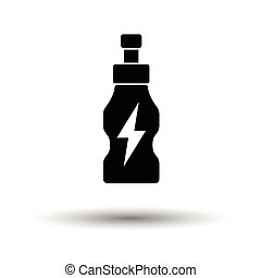 Energy drinks bottle icon White background with shadow...