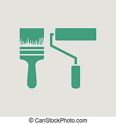 Icon of construction paint brushes. Gray background with...