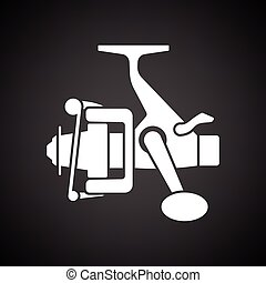 Icon of Fishing reel Black background with white Vector...