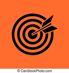 Target with dart in bulleye icon. Orange background with...