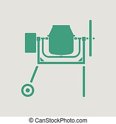 Icon of Concrete mixer. Gray background with green. Vector...