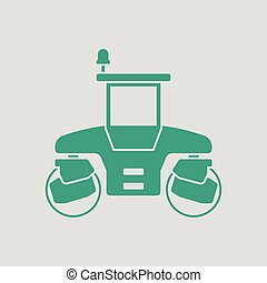 Icon of road roller. Gray background with green. Vector...