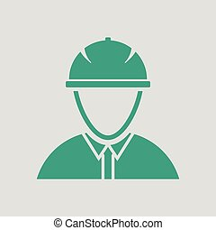 Icon of construction worker head in helmet. Gray background...