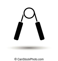 Hands expander icon. White background with shadow design....