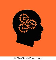 Brainstorm icon. Orange background with black. Vector...