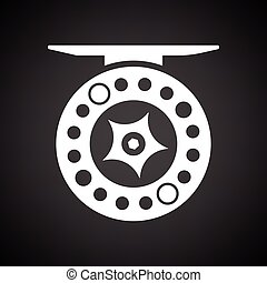 Icon of Fishing reel . Black background with white. Vector...
