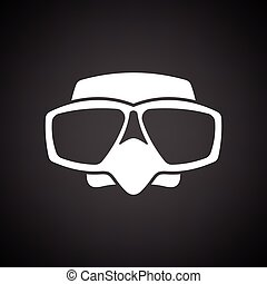 Icon of scuba mask . Black background with white. Vector...