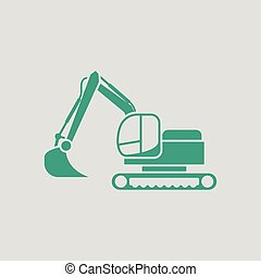 Icon of construction excavator Gray background with green...