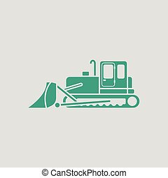 Icon of Construction bulldozer. Gray background with green....