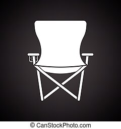 Icon of Fishing folding chair. Black background with white....