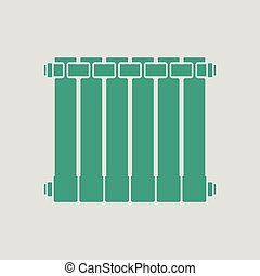 Icon of Radiator Gray background with green Vector...