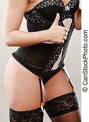 Woman body in black lingerie - Sexuality and sensuality of...