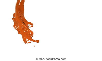 flying orange fluid flow in slow motion. Colored paint
