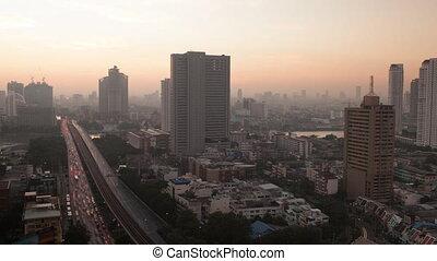 Timelapse of sun rising in Bangkok, Thailand - Timelapse...
