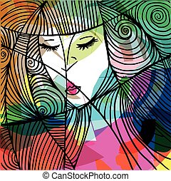 Beautiful woman face illustration - Abstract beautiful woman...