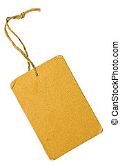 Blank Yellow Grunge Cardboard Sale Tag Label, Isolated...