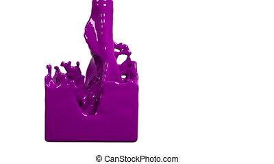 purple liquid fills up a container slowly. Colored paint