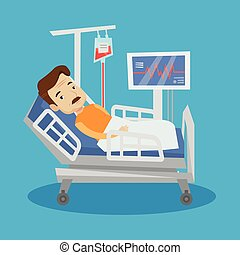 Man lying in hospital bed vector illustration - An adult man...