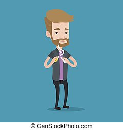 Young man quitting smoking vector illustration - A hipster...