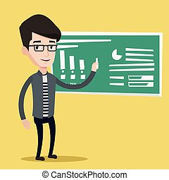 Man writing on a chalkboard vector illustration. - Young...