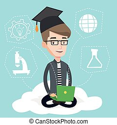 Graduate sitting on cloud vector illustration. - Graduate...