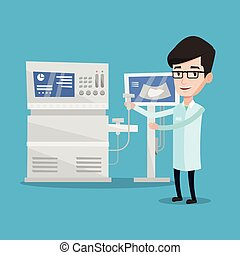 Male ultrasound doctor vector illustration. - Doctor with...