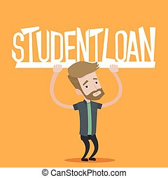 Student holding sign of student loan - Hipster student with...