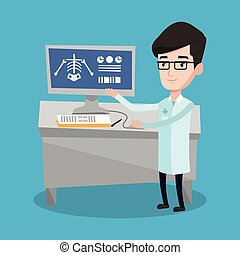 Doctor examining radiograph vector illustration - Doctor in...