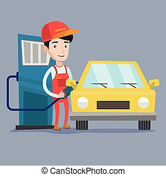Worker filling up fuel into car - A friendly worker filling...