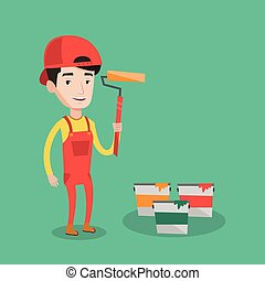 Painter holding paint roller vector illustration. - Joyful...