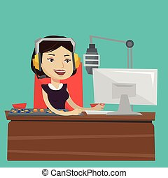 Female dj working on the radio vector illustration - Young...