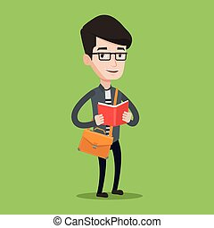 Student reading book vector illustration. - Smiling student...