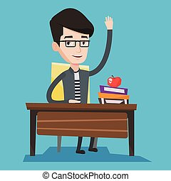 Student raising hand in class for an answer. - Student...