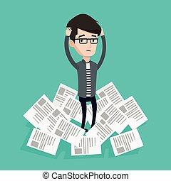 Stressed businessman having lots of work to do. - Overworked...