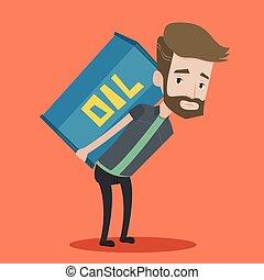 Man carrying oil barrel vector illustration.