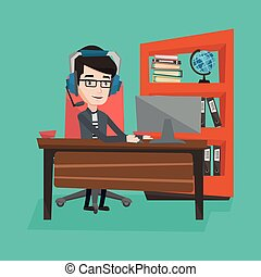 Businessman with headset working at office. - Man playing...
