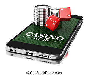3d Smartphone with coins and dice. Online casino concept.