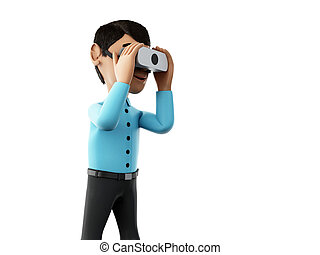 3d Man playing with virtual reality glasses. - 3d renderer...