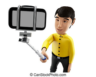 3d Man taking a selfie with selfie stick and smartphone. -...
