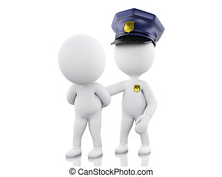 3d Policeman arresting a thief against white background. -...