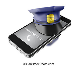 3d Smartphone with a police hat. Mobile security services concept.