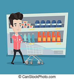 Customer with shopping cart vector illustration. - Young man...